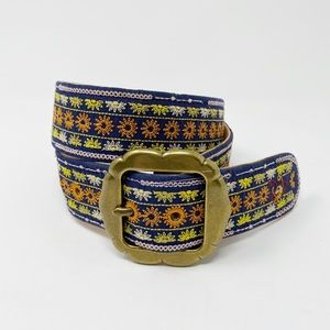 LUCKY BRAND Embroidered Belt M Floral Sun Boho